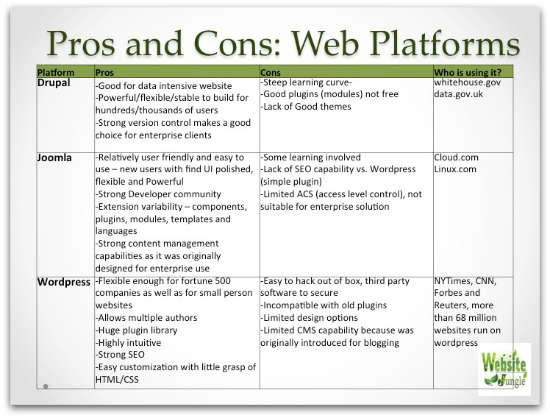 Selecting a website platform
