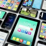 goup of mobile devices with apps and interfaces