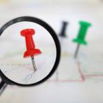 Map tacks magnified