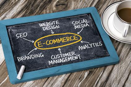 e-commerce with related word cloud handwritten on blackboard
